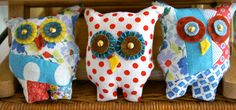 fabric collage wishing owls denegre