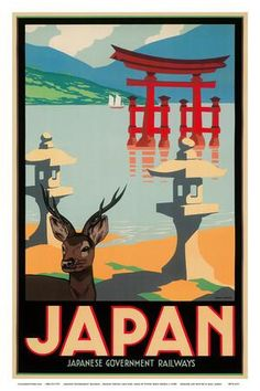 Japanese Government Railways - Hakone Shrine, Lake Ashi, Japan Art Print by Pieter Irwin Brown at Art.co.uk