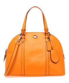 Tangerine Peyton Cora Domed Leather Satchel by Coach #zulily #zulilyfinds