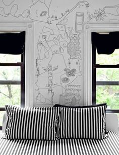 wall art & striped bedding