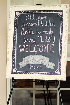 vintage bridal shower signs with chalkboard writing  #BridalShower #ElegantWeddingInvites