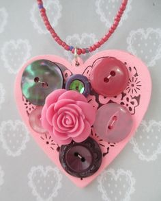 Indigo Berry original design pink heart pendant with vintage buttons