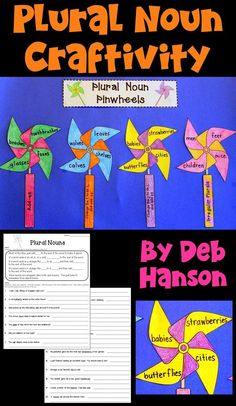 Plural Nouns Craftivity- this also makes a fun bulletin board or hall display! Includes two worksheets and the craftivity patterns. Grammar Activities, Teaching Grammar, Writing Activities, Fifth Grade Writing, 5th Grade Reading, Reading Lesson Plans, Reading Lessons, School Hallway Displays, Creative Bulletin Boards
