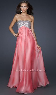 La Femme Strapless Chiffon Prom Dress With Sequin Bust 17513