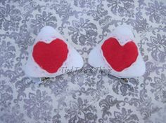 Valentine heart cat ear hair clips by TiedTutusAndThings on Etsy white and dark pink