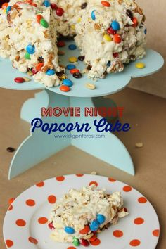Movie Night Popcorn Cake made with buttery Pop Secret Popcorn, melted white chocolate and marshmallows, then loaded with peanuts, pretzels and colorful chocolate candies! Combine it with a fun-filled family movie night for lots of memories! Popcorn Cake, Popcorn Recipes, Snack Recipes, Dessert Recipes, Popcorn Snacks, Dessert Bars, Chocolate Candies, Chocolate Marshmallows, White Chocolate