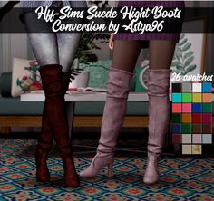 Hff-Sims Suede Hight Boots Conversion by for The Sims 4 Sims Four, Sims 5, Sims 4 Mods, Sims 4 Black Hair, Sims 4 Toddler, Sims Baby, Sims 4 Characters, Best Sims, Sims 4 Cc Shoes