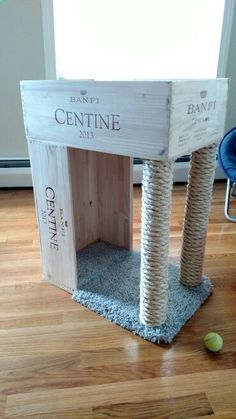 Cats Toys Ideas - Wine crate cat bed and sisal scratching post! Saw one on Pinterest and decide to make my own. Courtney Deloge - Ideal toys for small cats