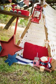 Patriotic outdoor 4th of July party! See more party planning ideas at CatchMyParty.com!