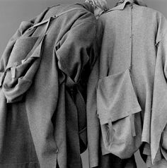 Yamamoto is obsessed with functionality and adaptability within garments. The brand is all about garments which are paradoxically forgotten the moment they are put on. / Yohji Yamamoto, Fall 1983, Via girlalamode.com
