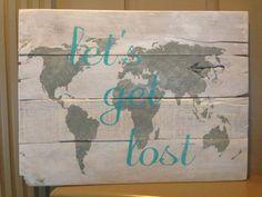 LET'S GET LOST Pallet Sign by designsatdaybreak on Etsy, $35.00
