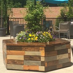Recently made a hexagon planter bench for a local coffee shop's patio, Blend Coffee Bar, in Broadlands, VA Planter Bench, Planters, American Flag Wall Art, Blended Coffee, Wood Creations, Wood Planks, Custom Wood, Wood Species, Barn Wood