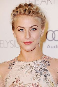 Click through for our favorite celebrity crown braids—from fishtails to flower-infused to twisted and tiered: Julianne Hough.