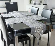 Cheap runners blues, Buy Quality silver necklace directly from China silver glitter table runner Suppliers: 2011 New design sequin europe elegant table runner tablemat freeshipping--Five color silver &n Eclectic Table Runners, Modern Table Runners, Lace Table Runners, Dinner Tables Furniture, Dining Room Table Decor, Table Runner And Placemats, Silver Table, Creation Couture, Elegant Table