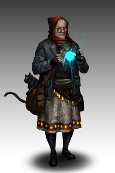 A wizened witch, urban fantasy character inspiration  dungeoncrawlersltd:Granny by NathanParkArt