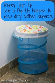 Disney Trip Tip: Use a Pop-Up Hamper to keep your dirty clothes separate from your clean clothes. Just dump it in the washer when you get home! Make unpacking so much easier and keeps your hotel room clean! @Walt Disney World