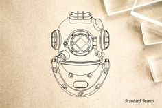 Diving Helmet Rubber Stamp