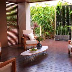 Asian Decor Design Ideas, love the bamboo planter for the balcony
