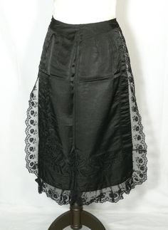 Apron (possibly mourning): ca. 1900, silk.
