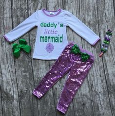 Girls Daddy's Little Mermaid Purple Sequin Pant Outfit Necklace Bow Set 12M-8 #MyCutiePye #DressyEverydayHoliday
