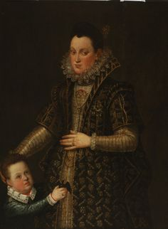 Duchess of Parma with her young son by Coello Alonso Sanchez, Slovak National Gallery, CC BY Tudor Fashion, Renaissance Fashion, Renaissance Clothing, Historical Clothing, Female Clothing, Parma, 16th Century Fashion, 17th Century, Spanish Netherlands