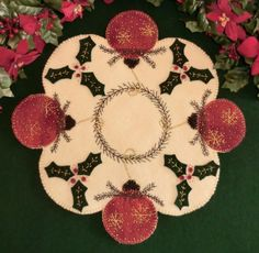 Christmas Sparkle Wool Applique Penny Rug