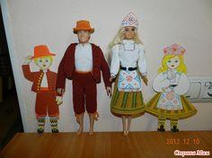 Вот такие костюмы я вязала в детский сад на конкурс.     Вязала из швейных ниток в из 4х катушек, так как пряжы не ншла подходяшей по тону. А блузочка у барби связана из Пеликан от Вита.