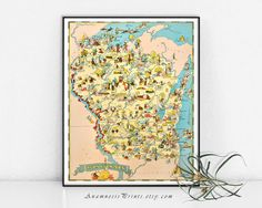 WISCONSIN MAP PRINT  vintage picture map to by AnamnesisPrints