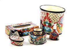 Ceramic Decor, Ceramic Art, Latin Decor, Rustic Outdoor Furniture, Mexican Home Decor, Old World Style, Handmade Tiles, Spanish Style, Bath Accessories