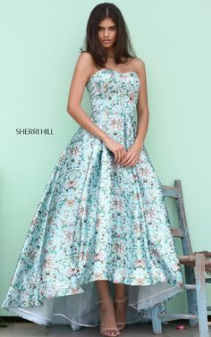 Sherri Hill 50793 high low Audrey length floral print ball gown #ipaprom