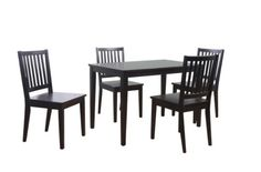 TMS 5-PIECE SHAKER DINING SET, BLACK  - Click image twice for more info - See a larger selection of Dining table sets at http://zcoffeetables.com/product-category/dining-table-sets/ - home, home decor, home furniture, tables, house, home ideas, gift ideas