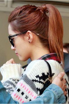 SNSD's Yoona // <3 braids in hair & simply ponytail