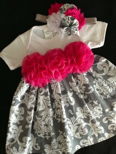 Gray Damask Onesie Dress size 6 months by HaleyLaine on Etsy