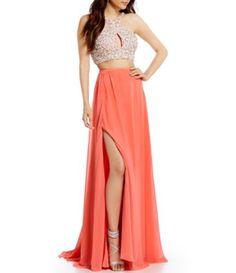 Terani Couture Prom Beaded Wrap Top Two-Piece Long Dress #Dillards