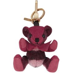 Burberry Pink Check Thomas Keychain ($140) ❤ liked on Polyvore featuring accessories, pink, key chain rings, ring key chain, burberry, burberry key ring and fob key chain