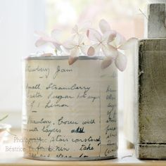 Decoupage with copies of vintage recipes