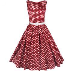 Lindy Bop Red Polka Dot Audrey Dress - Attitude Clothing