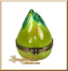 Delicious Ripe Green Pear Limoges box by Beauchamp Limoges www.LimogesBoxCollector.com