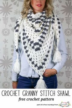 Crochet this easy granny stitch shawl from Make & Do Crew from my crochet projects to make for craft fairs free pattern roundup!