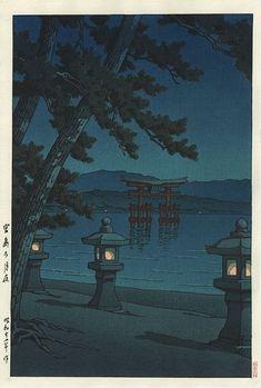 Hasui Kawase détail - Scène de nuit à Miyajima,1947