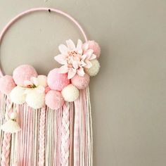 Image of Sweet Pink Flowers Crafts To Make, Easy Crafts, Crafts For Kids, Arts And Crafts, Paper Crafts, Diy Pompon, Diy Fleur, Pom Pom Wreath, Pom Pom Crafts