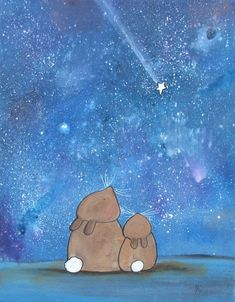 8x10 Shooting Star Art Print Bunny Rabbit Best Friends Woodland Kids Nursery Decor Whimsical Storybo