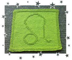 Leo Knit Dishcloth, Zodiac Symbols, Squares, Leo, Knitting Patterns, Blanket, Crochet, How To Make, Knit Patterns