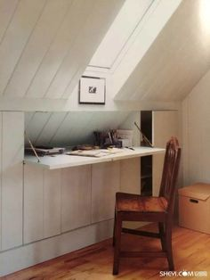 creative use of desk space in an attic