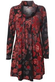 Black & Red Roses Print Cowl Neck Tunic Dress