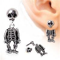 316L Surgical Steel Two-Piece Skeleton Dangle Earrings