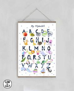 Alphabet Nursery, Alphabet Wall Art, Alphabet Print, Nursery Art, Cool Wall Decor, Baby Room Wall Decor, Kids Wall Decor, Kids Watercolor, Watercolour