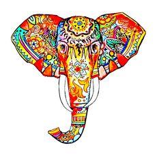 Elephant Canvas Print by kristinasheufelt Elephant Canvas, Elephant Love, Elephant Head, Tribal Elephant, Indian Elephant, Elephant Design, Elephant Print, Elefante Tattoo, Colorful Elephant Tattoo