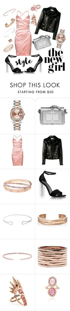 """▪FancyNight"" by karlacsg ❤ liked on Polyvore featuring Rolex, Yves Saint Laurent, Cartier, Hueb, Repossi and Nikos Koulis"