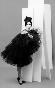 1958 Dovima in tiered, tulle party dress from Dior's (YSL)